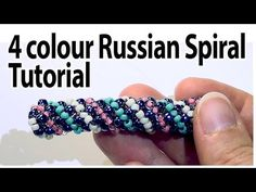BeadsFriends: 4 colours Russian spiral tutorial - How to create a Russian Rope using 4 colours - YouTube