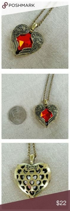 JUST IN: Red Heart with Wings Necklace NWOT Alloy metal. Pretty red crystal heart with wings on either side. Pendant: 1 x 1.25 in. Chain: 26 in. Sumni Jewelry Necklaces