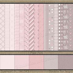 Digital Scrapbooking Sweetheart Paper Pack #DandelionDustDesigns #DigitalScrapbooking