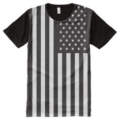 Black and White USA Flag All-Over-Print T-Shirt