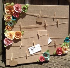 This adorable shabby chic style message board is covered in burlap and has twine with mini clothespins attached to hold you photos and messages! Fleurs Style Shabby Chic, Shabby Chic Crafts, Shabby Chic Homes, Shabby Chic Decor, Burlap Crafts, Diy And Crafts, Crafts For Kids, Paper Crafts, Cork Crafts