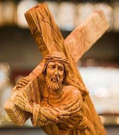 Wood carving of Jesus carrying his cross, carved in Bethlehem. (Courtesy Evangelical Church in America)