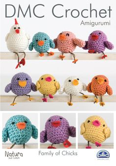 Our Family of Chicks is a wonderful beginners Amigurumi pattern using DMC Natura Just Cotton yarn.