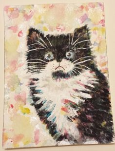 Snickers  black and white kitty  cat  watercolor  painting original ACEO by SJM #Miniature