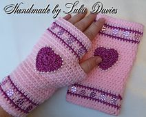 "Ravelry: TO MY LOVE fingerless mittens pattern by Crochet- atelier SKILL LEVEL - EASY	pattern sizes: S - 6.5""; M - 7""; L - 7.5""; XL - 8"""