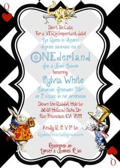 Alice in Wonderland Black & White checkered Queen of Hearts Baby Shower Invitation- Digital Printable File. $15.00, via Etsy.