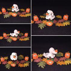 Halloween fairy garden ghost dog & pumpkin by MacTiereLunaCreation