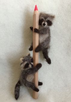 Felted Miniature Raccoon Poseable Tiny by ClaudiaMarieFelt on Etsy