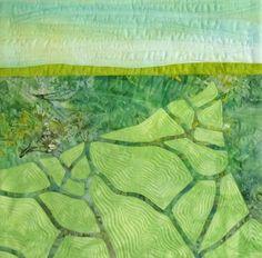 "'To the Horizon'  ©️ 2016 CarolynCollinsArt 12"" x 12""   Hand dyed fabric, batik, reverse applique"