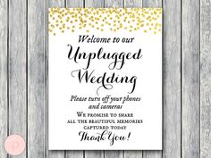 Gold Unplugged Wedding Sign Unplugged Ceremony by BrideandBows