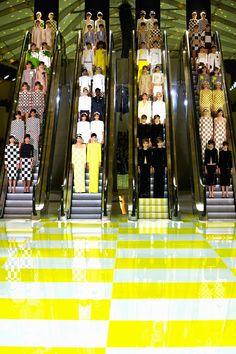 Daniel Buren Louis Vuitton spring summer 2013 catwalk show set (Vogue.com UK)