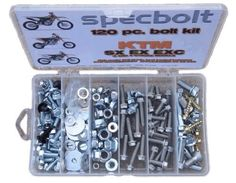Specbolt KTM two and four stroke Bolt Kit for Maintenance & Restoration of MX Dirtbike OEM Spec Fastener by Specbolt Fasteners. $31.99. This Specbolt 120 piece kit will save you many trips to the dealership for that special OEM fastener needed for all liquid cooled KTM SX EX EXC 2 or 4 Stroke models. This includes 2 STROKES: 50 60 65 85 105 125 250 300 360 380 550 AND 4 STROKES: 250 350 400 450 520 525 530 620 640 690 & 950. Your Bolt Kit will include just the right amou...
