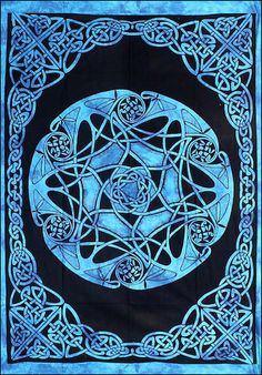 Celtic Star - Blue - Tapestry or Bedspread.  Higher than usual quality; good printing, saturation.