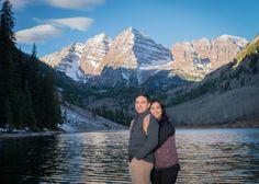 Maroon Bells Fall Engagement Photos Hug from behind