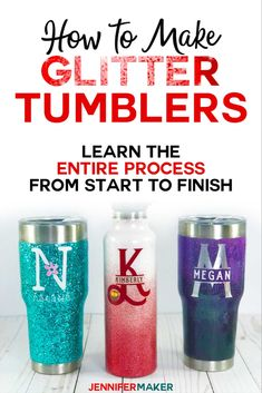 DIY Glitter Tumblers - Step-by-Step Photos & Video Tutorial - Jennifer Maker - Artsy Fartsy - Glitter Tumbler Tutorial Step by Step From Start to Finish - Diy Craft Projects, Diy Home Crafts, Diy Crafts To Sell, Sell Diy, Decor Crafts, Craft Ideas, Fun Ideas, Easy Crafts, Project Ideas