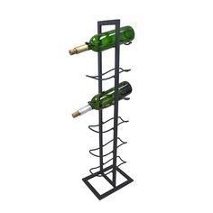Free Standing Gray Metal 6 Bottle Wine Rack