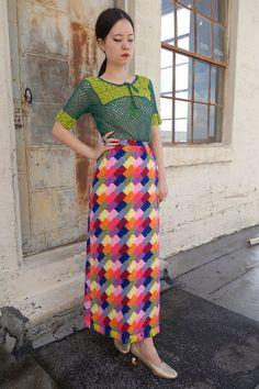High-Waisted Rainbow Patchwork Quilt Skirt