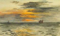 """Sunrise off Japan,"" John La Farge, watercolor, 5 x 8.3"", private collection."