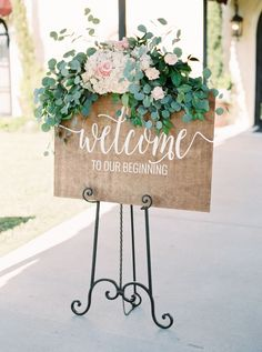 Rustic eucalyptus and peony topped wedding sign: Photography: Jen Dillender - http://jendillenderphotography.com/wp1/