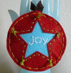 "Hand Stitched ""joy"" Felt Christmas Ornament"