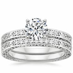 18K White Gold Delicate Antique Scroll Matched Set from Brilliant Earth...I'm liking the single diamond and engraving more and more!