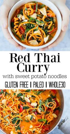 Skip the take-out and make this versatile, one pot, flavorful, and easy to make Thai Red Curry dish with chicken and sweet potato noodles.