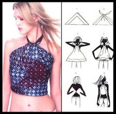 Turn a scarf into a halter pictorial.