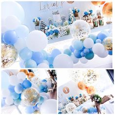"175 Likes, 8 Comments - Quirky Balloons (@quirkyballoons) on Instagram: ""Absolutely love these blue hues complimented by white and gold. Thanks…"""