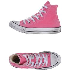 Converse Limited Edition Sneakers ($145) ❤ liked on Polyvore featuring shoes, sneakers, pink, converse trainers, rubber sole shoes, pink flat shoes, converse footwear and flat sneakers