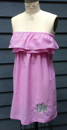 Sammy double ruffle strapless seersucker summer dress by RysaRuth, $48.00