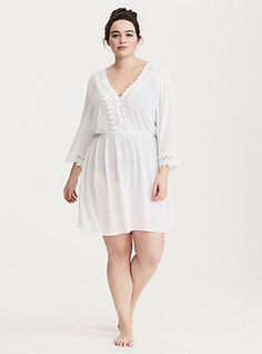 5847a1e45e3d9 Crochet Inset V-Neck Bell Sleeve Swim Cover Up