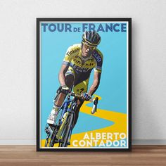 Tour De France Poster  Alberto Contador  by TroutLifeStudio