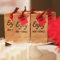 milk and cookies favors
