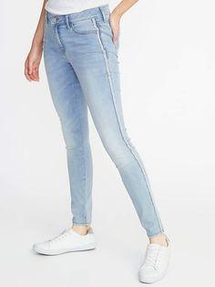 6bdd70ed63 Mid-Rise Metallic Side-Stripe Rockstar Super Skinny Jeans for Women