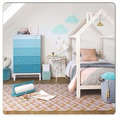 Not sure where this from but LOVE these blue ombre drawers  .. Boys room or…