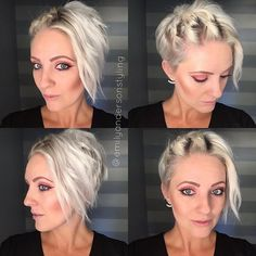 Yesterday's faux cornrows done wth two strands instead of three. Dance Hairstyles, Fast Hairstyles, Pretty Hairstyles, Simple Hairstyles, Short Hair With Layers, Short Hair Cuts, Short Hair Styles, Pixie, Langer Bob