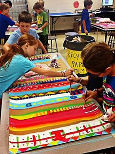 "PAINTED ""WEAVING"" COLLABORATIVE ART PROJECT Great collaborative art project for kids. Each child is responsible for painting one or two patterns on the large scale weaving."