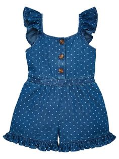 V By Very Girls Denim Polka Dot Frill Detail Playsuit - Blue, Blue, Size - Blue - Months Toddler Fashion, Kids Fashion, Fashion Outfits, Girls Playsuit, Kids Ethnic Wear, Kids Outfits, Cute Outfits, Baby Dress Design, Baby Girl Dresses