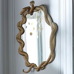 Where my Slytherins at? This Nagini mirror is the coolest mirror ever. I sort of want to buy it for my front hall. Decor, Interior, Pottery Barn, Vibrant Rugs, Home Decor, Room Inspiration, Mirror Decor, Mirror, Custom Furniture