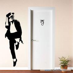 """""""Michael Jackson y logo""""  Michael Jackson es un icono de la música y nunca pasará de moda. Se entrega en una pieza de 56x165 cm #retovinilo #vinilosdecorativos #vinilo  #musica #michaeljackson"""