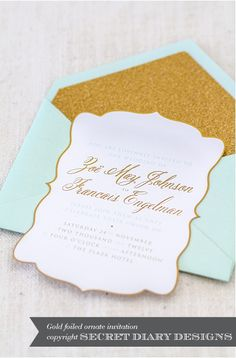 Mint & gold laser cut stationery (wedding invitations) by Secret Diary, photo by Tasha Seccombe Wedding Blog, Our Wedding, Wedding Ideas, Dream Wedding, Yellow Wedding, Wedding Card, Wedding Table, Wedding Details, Wedding Reception