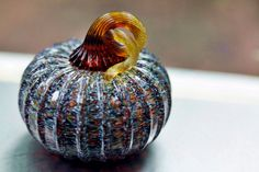 "Hand-blown mini glass pumpkin in glossy turkey feather with an amber stem. Measures approximately 3"" wide. This particular turkey feather mix has lots of warm ivory and orange in it. See listing #99416537 to purchase a set with a matching gourd."