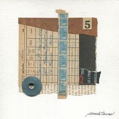 It would take hundreds of little blue saving stamps collected over months to fill just one book needed to trade in for desirable store merchandise. This original handmade mixed-media abstract collage was named for the patience required to wait for a reward. The string of savings
