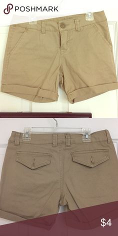 Khaki Shorts These are great for work or just a casual day! They are missing on button on the back but otherwise they are in great condition (only worn once). Wallflower Shorts