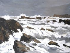 Storm at Trearddur  by Kyffin Williams        Date painted: 1987