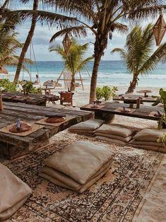 Tulum Beach, Beach Resorts, Vacation Places, Dream Vacations, Beach Club, Tulum Mexico, Beach Design, Beach Bars, Mexico Travel