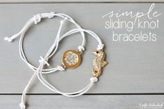 Jewelry Making 5 Minute Sliding Knot Bracelets Saw the Pura Vida bracelets and this must be how they do them. - This DIY sliding knot bracelet takes only 5 minutes to complete and it's so easy that you will want to make a bunch of them! Bracelet Knots, Bracelet Crafts, Bracelet Making, Jewelry Crafts, Bracelet Box, Cord Bracelets, Braclets Diy, Washer Bracelet, Knotted Bracelet