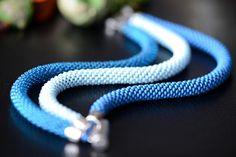 Blue beaded bracelet - Bead crochet bracelet, Three strand bracelet, Seed beads bracelet, Casual style, Handmade jewelry, Blue rope bracelet, three-row bracelet, bead crochet rope, wide bracelet, beadwork bracelet, blue beads bracelet #bracelet #jewelry #seedbeads #beadcrochet #handmade