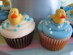 Duck Baby Shower Cupcakes so cute  this would be cute with real rubber ducks