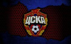 Download wallpapers CSKA Moscow, 4k, logo, Russian Premier League, soccer, football club, Russia, grunge, metal texture, CSKA Moscow FC